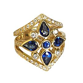 Temple St. Claire 18k Yellow Gold Sapphire 0.80ctw Diamond Shield Ring Size 7.5