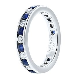 Tiffany & Co. Blue Sapphire and Diamond Platinum Ring