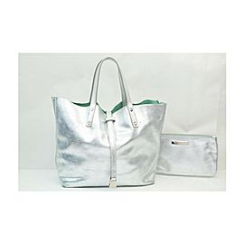 Tiffany & Co. Metalic Silver x Green Reversible Tote Bag with Pouch 863242