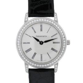 Tiffany & Co. Platinum & Leather w/Diamond Silver Roman Dial 27mm Womens Watch