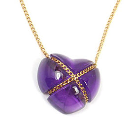 Tiffany & Co. 18K Yellow Gold & Purple Amethyst Heart Necklace