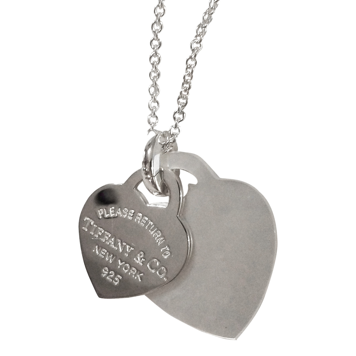b5e0121d4cf94 Tiffany & Co. Return to Tiffany 925 Sterling Silver with Mother of Pearl  Double Heart Pendant Necklace