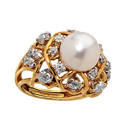 Tiffany & Co. Schlumberger 18K Yellow Gold, Cultured Saltwater Pearl and 1.10ctw Diamond Ring Size 6