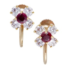 Tiffany & Co. 18K Yellow Gold with 1.00ctw. Diamond and 0.35ctw. Ruby Screw Back Earrings