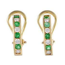Tiffany & Co. 18K Yellow Gold with 0.50ctw. Diamond and 0.56ctw. Emerald Huggie Earrings