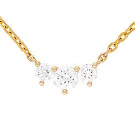 14K Yellow Gold Triple Solitaire 0.38CT Diamond Pendant Necklace