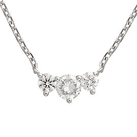 14K White Gold Triple Solitaire 0.32CT Diamond Pendant Necklace