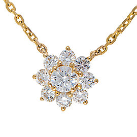 14K White Gold Flower Solitaire 0.53CT Diamond Pendant Necklace