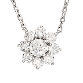 14K Yellow Gold Flower Solitaire 0.53CT Diamond Pendant Necklace