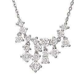 14K White Gold Bib 1.54CT Diamond Pendant Necklace