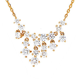 14K Yellow Gold Bib 1.54CT Diamond Pendant Necklace