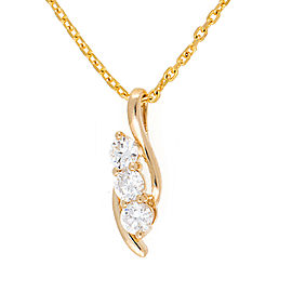 14K Yellow Gold Triple Solitaire 0.40CT Diamond Pendant Necklace