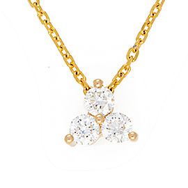 14K Yellow Gold Triple Triangle Solitaire 0.40CT Diamond Pendant Necklace
