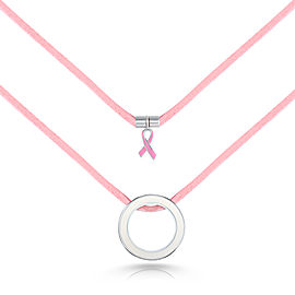 Movado Pink Leather circle pendant necklace