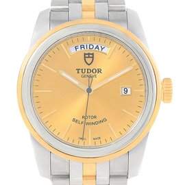 Tudor Glamour Day Date 56003 Stainless Steel Yellow Gold 39mm Automatic Mens Watch