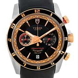 Tudor Grantour Fly-Back 20551N Chrono Stainless Steel Rose Gold 42mm Mens Watch