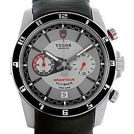 Tudor Grantour 20550N Grey Dial Black Leather Strap Stainless Steel 42mm Mens Watch