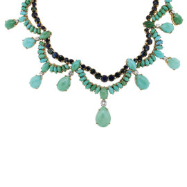14K Yellow Gold 1.3ct Diamond, Sapphire & Turquoise Necklace