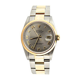 Mens Rolex Two-Tone Datejust Slate Gray Roman 16203