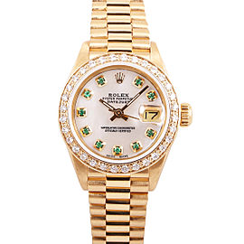 Rolex Datejust 18k Yellow Gold White Mother of Pearl and Diamond 26mm Watch