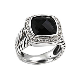 David Yurman Sterling Silver Black Onyx and Diamond Albion Ring Size 7.5