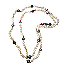 Assael 18K Yellow Gold Ruby Tahitian & Freshwater Pearl Necklace