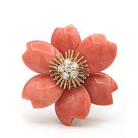 Van Cleef & Arpels 18K Yellow Gold Coral Diamond Brooch