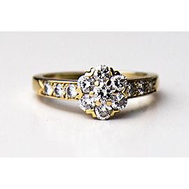 Van Cleef & Arpels 18K Yellow Gold Diamond Fleurette Ring Size 5