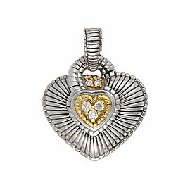 Judith Ripka Sterling Silver and 18K Yellow Gold with 0.20ct Diamond Heart Pendant