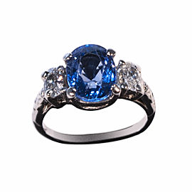 Platinum 3.75ct Sapphire and Diamond Ring Size 7