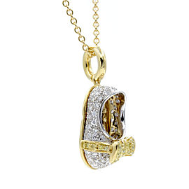 Aaron Basha 18K Yellow Gold 1.50ctw Diamond Baby Shoe Charm Necklace