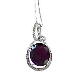 14K White Gold & Sterling Silver Diamond Sapphire & Amethyst Necklace
