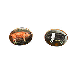 Deakin & Francis 18K Yellow Gold & Enamel Pigs Cufflinks