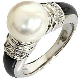 Mikimoto Pt950 Platinium 0.12ct Diamonds Pearl Onyx Ring