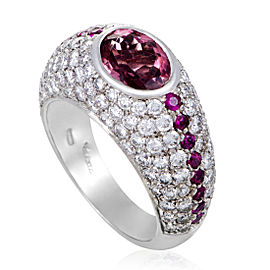 Valente Milano 18K White Gold Diamond Ruby and Tourmaline Band Ring Size 7.5
