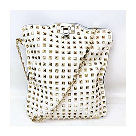Valentino White Rockstud Leather Crossbody Messenger 863405