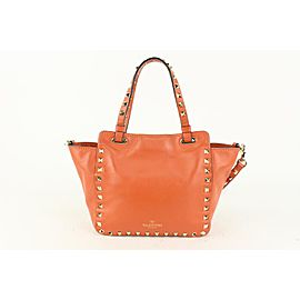 Valentino Orange Coral Leather Rockstud Small Convertible Tote 2way 922val81