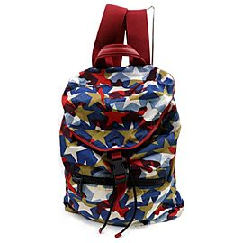 Valentino Blue Printed Camustars Multicolor 871828 Red Nylon Backpack