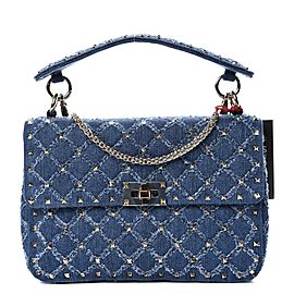 Valentino Chain Quilted Denim Rocstud Flap 1vk1127 Blue Deerskin Leather Cross Body Bag