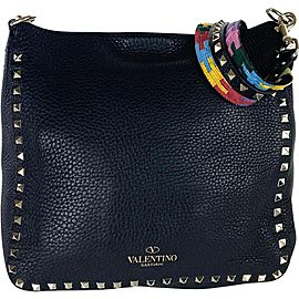 Valentino Messenger Flip-lock Rockstud Limited Multicolor 18val531 Black Leather Cross Body Bag