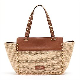 Valentino Beige Raffia Rockstud Studded 2way Oonvertible Tote with Strap 2val917