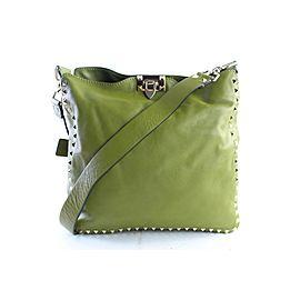 Valentino Messenger Hobo Rockstud Utilitarian 10mr0625 Green Leather Cross Body Bag