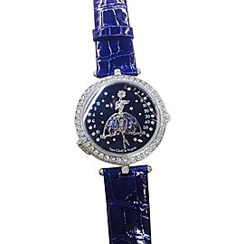 Van Cleef & Arpels Ballerine Enchantee 18K White Gold & Leather Diamond 40mm Watch