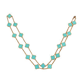 Van Cleef & Arpels 18K Yellow Gold Alhambra 20 Motif Turquoise Necklace