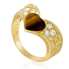 Van Cleef & Arpels 18K Yellow Gold Diamond & Tiger's Eye Heart Ring Size 5.25