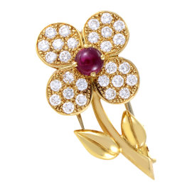 Van Cleef & Arpels 18K Yellow Gold Trefle Diamond and Ruby Flower Pin