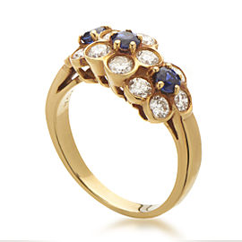 Van Cleef & Arpels 18K Yellow Gold Diamond Sapphire Flowers Ring Size 5.25