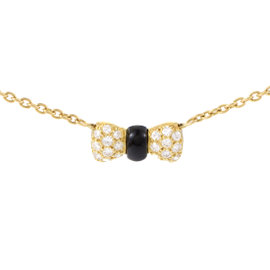 Van Cleef & Arpels 18K Yellow Gold Diamond & Onyx Bow Pendant Necklace