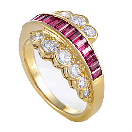 Van Cleef & Arpels 18K Yellow Gold Diamond & Ruby Ring Size 5.75