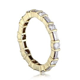 Van Cleef & Arpels 18K Yellow Gold With 1.50ct Baguette and Round Cut Diamond Eternity Band Ring 7